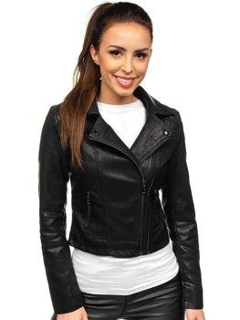 Černý dámský koženkový křivák bunda Bolf 2071