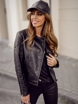 Černý dámský koženkový křivák bunda Bolf BF5935502