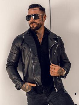 Černý pánský koženkový křivák bunda Bolf 0006