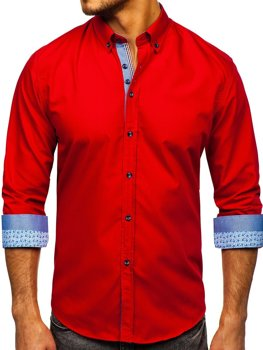 Červená pánská elegantní košile s dlouhým rukávem Bolf 8838