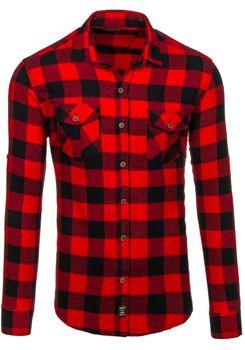 Červená pánská flanelová košile s dlouhým rukávem Bolf 1770