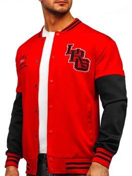 Červená pánská mikina- baseballová bunda s potiskem Bolf B10158