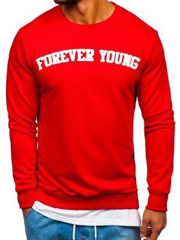 Červená pánská mikina bez kapuce s potiskem FOREVER YOUNG Bolf 11116
