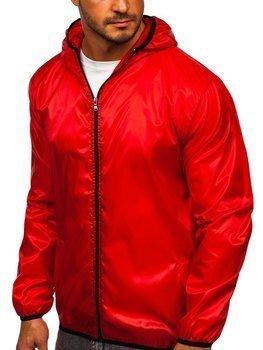 Červená pánská přechodová bunda s kapucí větrovka Bolf 5060