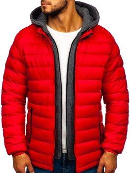 Červená pánská prošívaná sportovní zimní bunda Bolf JP1102
