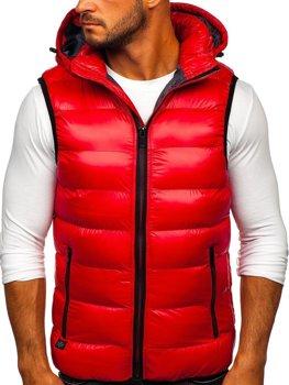 Červená pánská prošívaná vesta s kapucí Bolf 6506
