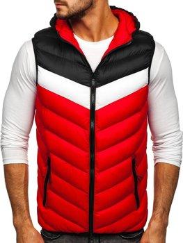 Červená pánská prošíváná vesta s kapucí Bolf HDL88004