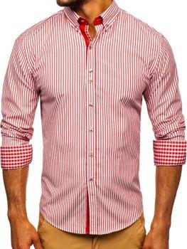 Červená pánská proužkovaná košile s dlouhým rukávem Bolf 9711