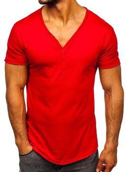Červené pánské tričko bez potisku Bolf 4049