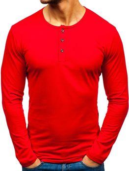 Červené pánské tričko henley s dlouhým rukávem Bolf 1114