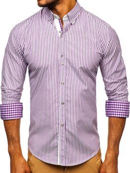 Fialová pánská proužkovaná košile s dlouhým rukávem Bolf 9711