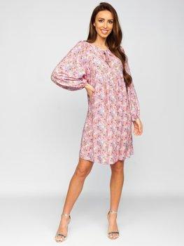 Fialové dámské květinové šaty Bolf 3019