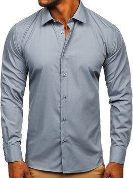 Grafitová pánská elegantní košile s dlouhým rukávem Bolf SM7