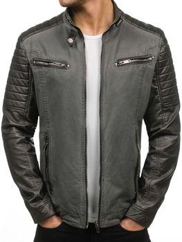 Grafitová pánská kožená bunda z ekokůže Bolf EX392