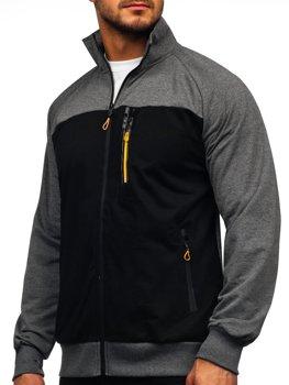 Grafitová pánská mikina na zip bez kapuce Bolf JX9892