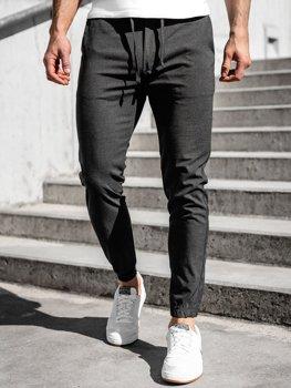 Grafitové pánské textilní jogger kalhoty Bolf 0011