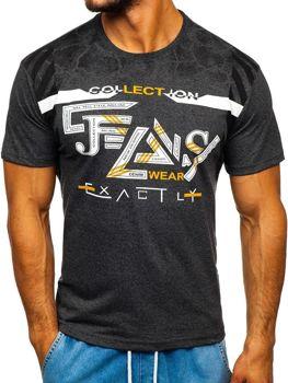 Grafitové pánské tričko s potiskem Bolf 14227