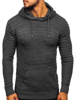Grafitovy pánsky svetr s kapucí Bolf 7003
