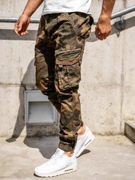 Hnědé pánské jogger kapsáče s páskem Bolf CT6015