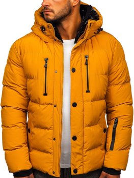 Kamelová pánská prošívaná zimní bunda Bolf J1903