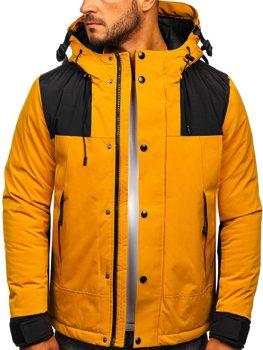 Kamelová pánská prošívaná zimní bunda Bolf J1905