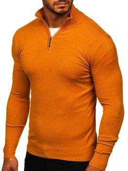 Kamelovy pánsky svetr na zip s vysokym límcem Bolf YY08