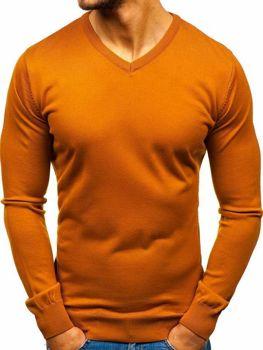 Kamelový pánský svetr s výstřihem do V Bolf 2200