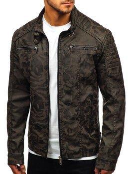 Khaki maskáčová pánská koženková bunda Bolf EX920