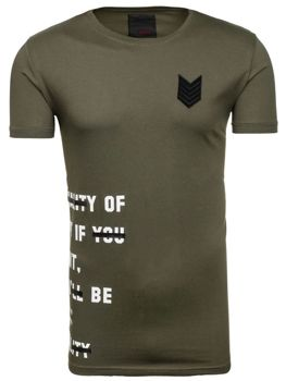 Khaki pánské tričko s potiskem Bolf 196