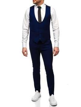 Kobaltová pánská souprava vesta a kalhoty Bolf 0019