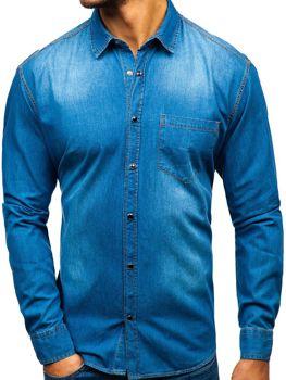 Modrá pánská džínová košile s dlouhým rukávem Bolf 1316