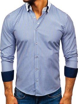 Modrá pánská elegantní košile s dlouhým rukávem Bolf 0909-A