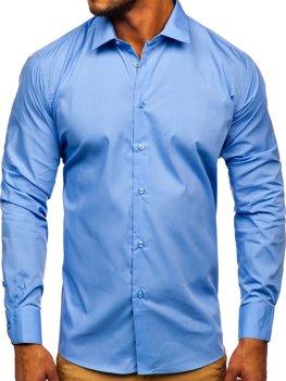 Modrá pánská elegantní košile s dlouhým rukávem Bolf SM39