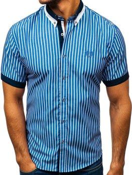 Modrá pánská elegantní kostkovaná košile s krátkým rukávem Bolf 4501 de36f1c3a3