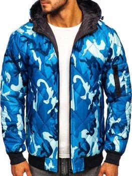 Modrá pánská maskáčová sportovní přechodová bunda Bolf MY21M