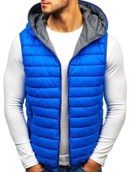 7b685d8e7c66 Modrá pánská oboustranná vesta s kapucí Bolf 1251