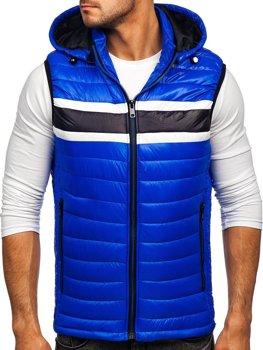 Modrá pánská prošíváná vesta s kapucí Bolf 6700
