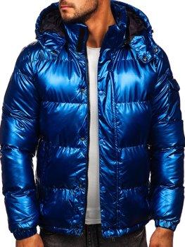 Modrá pánská prošívaná zimní bunda Bolf 1165