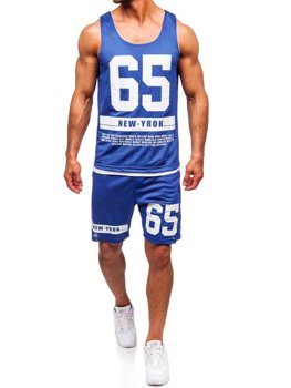 Modrá pánská sada tričko + kraťasy Bolf 100777