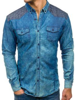 Modrá pánská vzorovaná džínová košile s dlouhým rukávem Bolf 0517-1