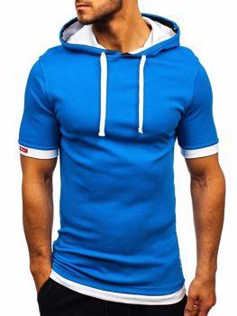 Modré pánské tričko s kapucí Bolf 08-1