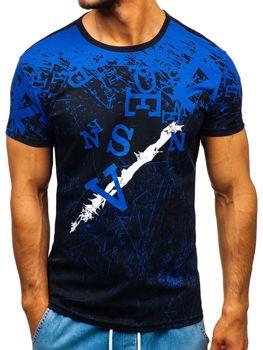 Modré pánské tričko s potiskem Bolf 100650