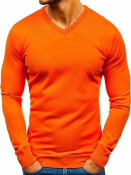 Oranžový svetr s výstřihem do V Bolf 2200