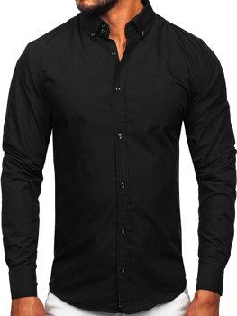 Pánská černá elegantní košile s dlouhým rukávem Bolf 5821-1