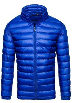 Pánská modrá přechodná bunda bez kapuce Bolf 3083