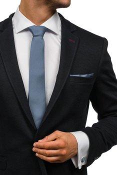Pánská sada kravata, manžetové knoflíčky, tmavě šedý kapesníček Bolf KSP01