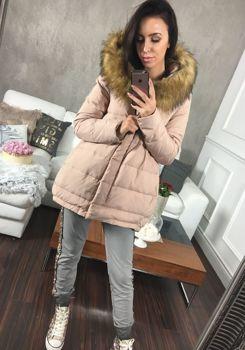 Pudrově růžová dámská zimní bunda Bolf 8062