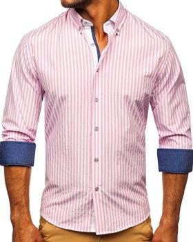Růžová pánská pruhovaná košile s dlouhým rukávem Bolf 20704