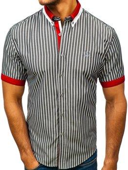Šedá pánská elegantní kostkovaná košile s krátkým rukávem Bolf 4501 20b5af7991