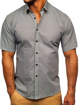 Šedá pánská vzorovaná košile s krátkým rukávem TSK101